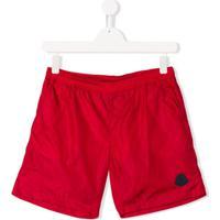 Moncler Kids Short Com Logo - Vermelho