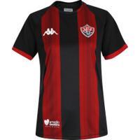 Camisa Do Vitória I 2019 Kappa - Feminina - Preto/Vermelho