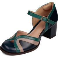 Sapato Boneca Dalí Shoes Couro Dali Shoes Bico Redondo Azul
