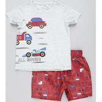 Conjunto Infantil De Camiseta Carros Manga Curta Cinza Mescla Claro + Bermuda Estampada Vermelha