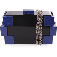 Bolsa Clutch Real Arte Lego Preta/Azul.
