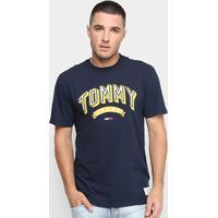 Camiseta Tommy Jeans Logo Retrô Masculina - Masculino-Azul
