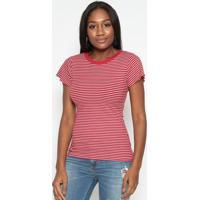Blusa Canelada Listrada- Vermelha & Branca- Tritontriton