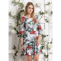 Vestido Sino Floral Com Mangas 7/8