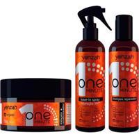 Kit 1 Shampoo Reparador Yenzah One Minute - 240Ml 1 Leave-In Spray 240Ml 1 Condicionador 250G - Unissex-Incolor