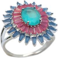 Anel Cravejado Com Tiras De Zircônias Azul E Rosa Pink Banho Em Ródio Aro 16