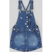 Jardineira Short Saia Jeans Infantil Estampada Floral Azul Escuro