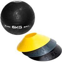 Kit 12 Half Cones Chapéu Chinês Pretorian Hc-Pp + Bola Medicine Slam Ball 6 Kg Liveup Ls3004-6 - Unissex