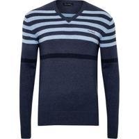 Suéter Tricot Listras Localizada Blue Melange