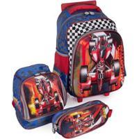 Kit Escolar Mochila Infantil Com Rodinhas + Lancheira + Estojo Carro Swiss Move Team Wheels 3D - Masculino-Azul
