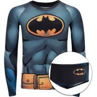 Conjunto Camiseta Manga Longa Com Proteção Solar Uv E Sunga Liga Da Justiça Batman - Infantil - Cinza/Preto