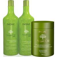 Kit Inoar Argan Oil Shampoo + Condicionador 1 L + Mascara 1 Kg.
