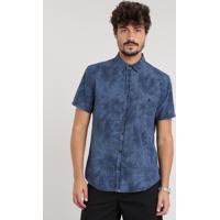 7e2b5bc7b6 CEA  Camisa Jeans Masculina Estampada De Folhagem Com Bolso Manga Curta Azul  Escuro