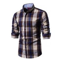 Camisa Xadrez Baytown Masculina - Bege E Marrom