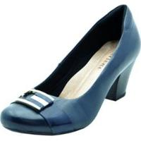 Scarpin Em Couro Confort Feminino - Feminino-Azul