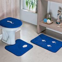 Jogo De Banheiro Dourados Enxovais Fundo Do Mar 03 Peças Azul Royal