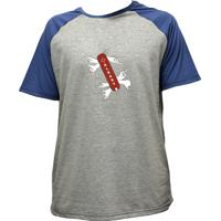 Camiseta Alkary Raglan Manga Curta Canivete Suiço Mescla E Azul