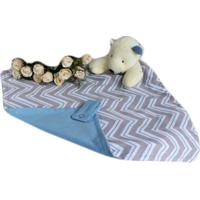 Naninha C/ Porta Chupeta Laura Baby - Ursinho Chevron Azul