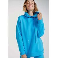 Blusa De Moletom Feminino Oversized Com Capuz Azul