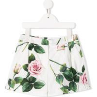Dolce & Gabbana Kids Bermuda Com Estampa De Rosas - Branco