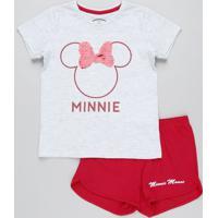Pijama Infantil Minnie Com Paetê Dupla Face Manga Curta Cinza Mescla