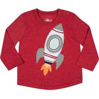 Camiseta Foguete- Vermelha & Cinzatip Top