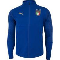 Jaqueta Seleção Da Itália Stadium 20/21 Puma - Masculina - Azul Esc/Ouro