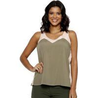 Blusa Energia Fashion Plano Feminina - Feminino-Bege+Verde