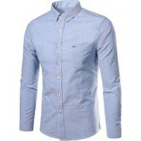 Camisa Social Slim Fit Basic - Azul