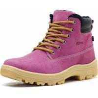 Bota Adventure Cano Curto Em Couro Atron Shoes Rosa