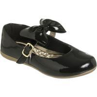 Sapato Boneca Envernizado Com Laã§O- Preto & Dourado-Mz Kid