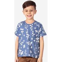 Camiseta Infantil Hermoso Compadre Folhas Masculina - Masculino-Azul