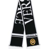 Versace Cachecol Com Logo - Preto