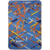 Tapete Jolitex Recreio Mattel Enrolado Hot Wheels 120X180 Azul