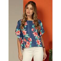 Blusa Modelo Amplo Floral Azul