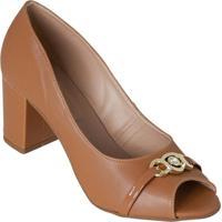 Sapato De Salto Caramelo Com Detalhe Dourado