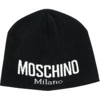 Moschino Gorro Com Logo - Preto