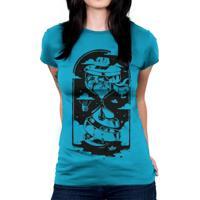 Camiseta Baby Look Hshop Ampulheta Azul