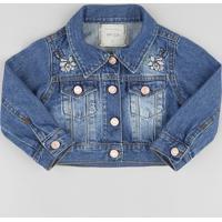 Jaqueta Jeans Infantil Cropped Com Bordado Azul Escuro