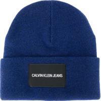 Ck Calvin Klein Gorro Com Patch De Logo - Azul