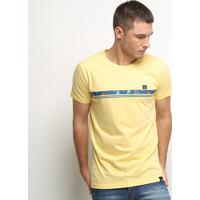 Camiseta Hd Slim Night Flora Masculina - Masculino-Amarelo