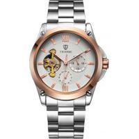 Relógio Tevise 8502 Masculino Automático Pulseira Aço - Branco E Dourado