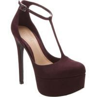 Sapato Meia Pata Em Couro Acamurçado - Roxo Escuro- Schutz