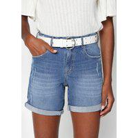 Bermuda Jeans Lez A Lez Reta Puídos Azul