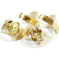 Sandália Brilho Flores Sapatinhos Baby Dourada