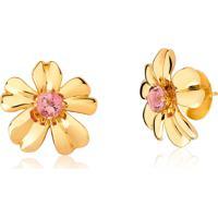 Brinco De Ouro 18K Flor Com Gema Turmalina Rosa-Coleção Jardim Secreto
