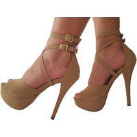 Sandalia Feminina Nude Bege Meia Pata Salto Alto Salto Grosso Plataforma Sapatos