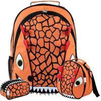 Kit Infantil Mochila Escolar Mumagi + Lancheira E Estojo Dinossauro Masculino - Masculino-Laranja