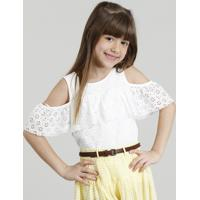 Blusa Infantil Open Shoulder Em Renda Com Babado Manga Curta Decote Redondo Off White