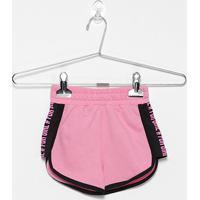 Shorts Infantil For Girl Moletinho Silk Lateral - Feminino-Rosa